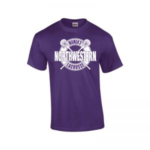 NW2900 Northwestern University Wildcats Purple Short Sleeve Tee Shirt with Women's Lacrosse Design