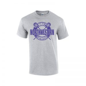 NW2901 Northwestern University Wildcats Grey Short Sleeve Tee Shirt with Women's Lacrosse Design