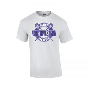NW2902 Northwestern University Wildcats White Short Sleeve Tee Shirt with Women's Lacrosse Design