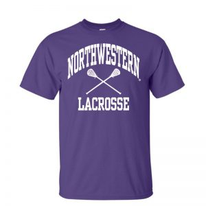 NW3008 Northwestern University Wildcats Purple Short Sleeve Tee Shirt with Lacrosse Design