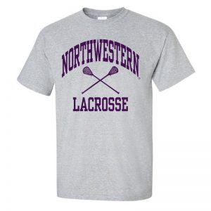 NW3009 Northwestern University Wildcats Grey Short Sleeve Tee Shirt with Lacrosse Design