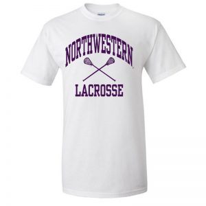 NW3010 Northwestern University Wildcats White Short Sleeve Tee Shirt with Lacrosse Design
