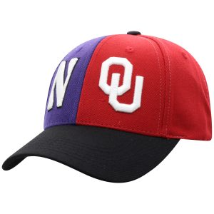 Northwestern University Wildcats House Divided Hat with Oklahoma Sooners-2