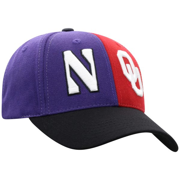 Northwestern University Wildcats House Divided Hat with Oklahoma Sooners-3