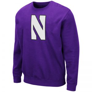 Northwestern University Wildcats Men's Purple Colosseum Crewneck Sweatshirt With Sewn Stylized N Design