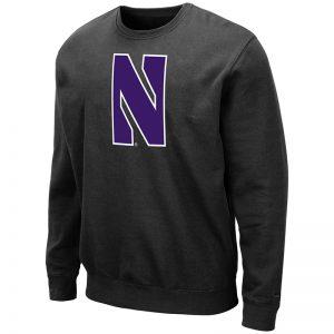 Northwestern University Wildcats Men's Black Colosseum Crewneck Sweatshirt With Sewn Stylized N Design