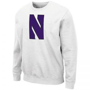 Northwestern University Wildcats Men's White Colosseum Crewneck Sweatshirt With Sewn Stylized N Design
