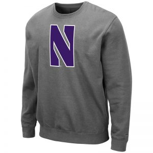 Northwestern University Wildcats Men's Charcoal Colosseum Crewneck Sweatshirt With Sewn Stylized N Design