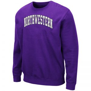 Northwestern University Wildcats Men's Purple Colosseum Crewneck Sweatshirt With Sewn Arched Northwestern Design
