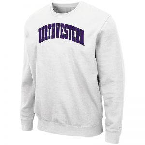 Northwestern University Wildcats Men's White Colosseum Crewneck Sweatshirt With Sewn Arched Northwestern Design