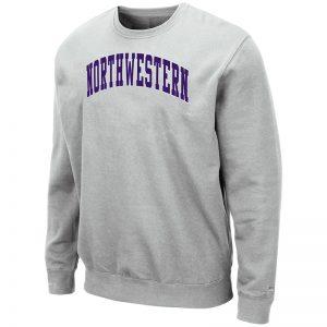 Northwestern University Wildcats Men's Silver Colosseum Crewneck Sweatshirt With Sewn Arched Northwestern Design