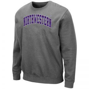 Northwestern University Wildcats Men's Charcoal Colosseum Crewneck Sweatshirt With Sewn Arched Northwestern Design