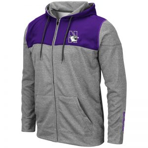 Northwestern University Wildcats Colosseum Nelson Purple/Grey Zip-hood Sweatshirt/Lightweight Jacket