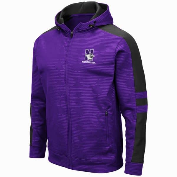 Northwestern University Wildcats Colosseum Men's Bart Purple Zip-Hood Sweatshirt/Lightweight Jacket