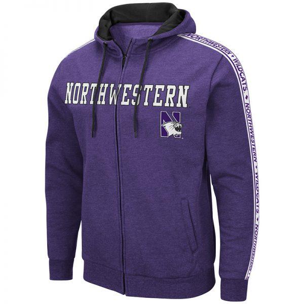 Northwestern University Wildcats Colosseum Men's Heather Purple Zip-Hood Sweatshirt/Lightweight Jacket With Full chest Appliqué Embroidered Design