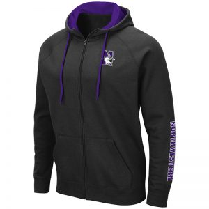 Northwestern University Wildcats Colosseum Black Zip-hood Sweatshirt With Left Chest Embroidered N-Cat Design