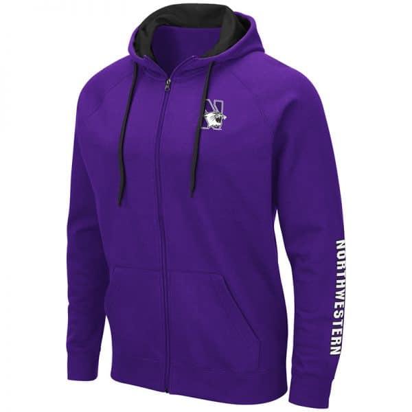 Northwestern University Wildcats Colosseum Purple Zip-hood Sweatshirt With Left Chest Embroidered N-Cat Design