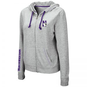 Northwestern University Wildcats Ladies Colosseum Supersoft Triblend Grey Zip-hood Sweatshirt With Left Chest Embroidered N-Cat Design