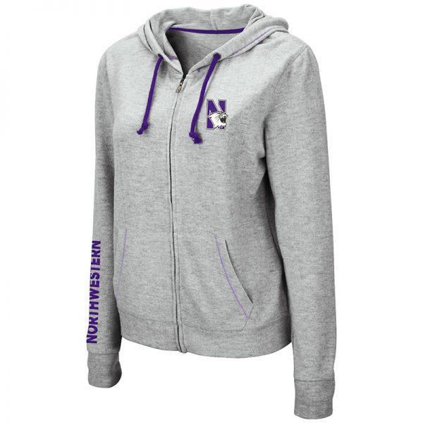 Northwestern University Wildcats Ladies Colosseum Supersoft Triblend Grey Zip-hood Sweatshirt With Left Chest Embroidered N-Cat Design