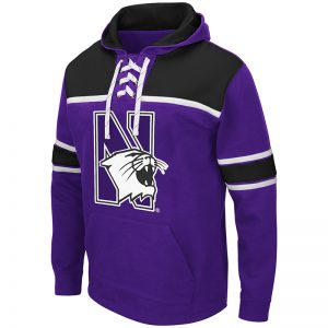 Northwestern University Wildcats Colosseum Men's Skinner Hockey Hoodie With Appliqué Embroidered Design
