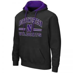 Northwestern University Wildcats Colosseum Men's Black Hooded Sweatshirt With Appliqué Embroidered Northwestern Over N Bar Design