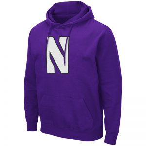 Northwestern University Wildcats Colosseum Men's Purple Hooded Sweatshirt With Appliqué Embroidered Stylized N Design