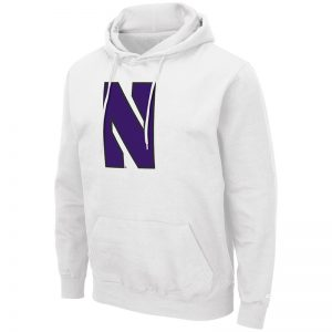 Northwestern University Wildcats Colosseum Men's White Hooded Sweatshirt With Appliqué Embroidered Stylized N Design