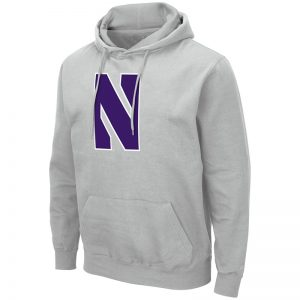 Northwestern University Wildcats Colosseum Men's Silver Hooded Sweatshirt With Appliqué Embroidered Stylized N Design