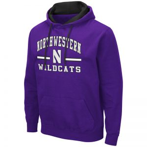 Northwestern University Wildcats Colosseum Men's Purple Hooded Sweatshirt With Appliqué Embroidered Northwestern Over N Bar Design
