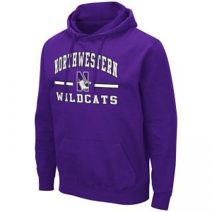 Northwestern University Wildcats Colosseum Men's Purple Hooded Sweatshirt With Appliqué Embroidered Northwestern Over N-Cat Bar Design