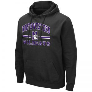 Northwestern University Wildcats Colosseum Men's Black Hooded Sweatshirt With Appliqué Embroidered Northwestern Over N-Cat Bar Design