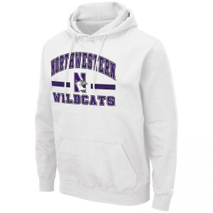 Northwestern University Wildcats Colosseum Men's White Hooded Sweatshirt With Appliqué Embroidered Northwestern Over N-Cat Bar Design