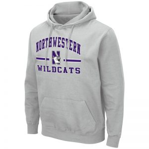 Northwestern University Wildcats Colosseum Men's Silver Hooded Sweatshirt With Appliqué Embroidered Northwestern Over N-Cat Bar Design