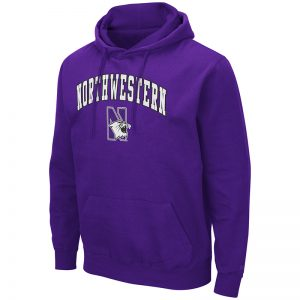 Northwestern University Wildcats Colosseum Men's Purple Hooded Sweatshirt With Appliqué Embroidered Arched Northwestern Over N-Cat Design