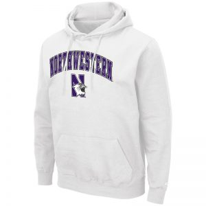 Northwestern University Wildcats Colosseum Men's White Hooded Sweatshirt With Appliqué Embroidered Arched Northwestern Over N-Cat Design