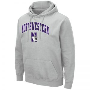 Northwestern University Wildcats Colosseum Men's Silver Hooded Sweatshirt With Appliqué Embroidered Arched Northwestern Over N-Cat Design