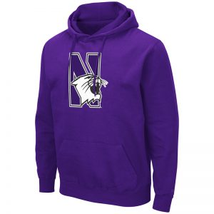 Northwestern University Wildcats Colosseum Men's Purple Hooded Sweatshirt With Appliqué Embroidered N-cat Design
