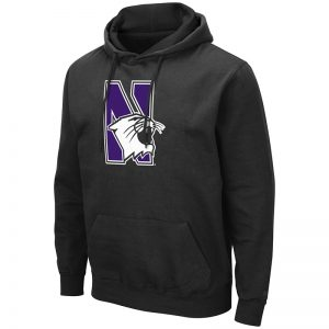 Northwestern University Wildcats Colosseum Men's Black Hooded Sweatshirt With Appliqué Embroidered N-cat Design