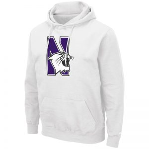 Northwestern University Wildcats Colosseum Men's White Hooded Sweatshirt With Appliqué Embroidered N-Cat Design