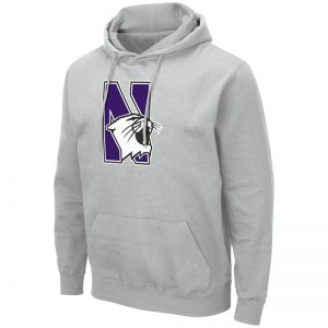 Northwestern University Wildcats Colosseum Men's Silver Hooded Sweatshirt With Appliqué Embroidered N-Cat Design