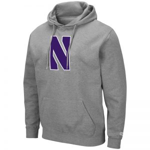 Northwestern University Wildcats Colosseum Men's Heather Grey Hooded Sweatshirt With Appliqué Embroidered Stylized N Design