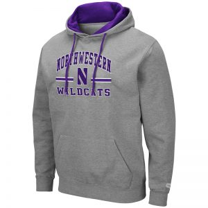 Northwestern University Wildcats Colosseum Men's Heather Grey Hooded Sweatshirt With Appliqué Embroidered Northwestern Over N Bar Design