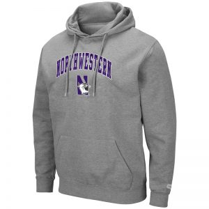 Northwestern University Wildcats Colosseum Men's Heather Grey Hooded Sweatshirt With Appliqué Embroidered Arched Northwestern Over N-Cat Design