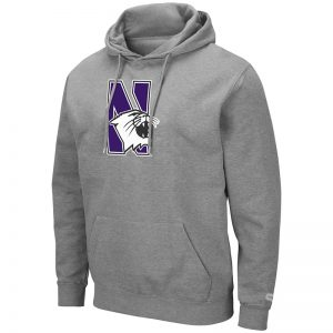 Northwestern University Wildcats Colosseum Men's Heather Grey Hooded Sweatshirt With Appliqué Embroidered N-Cat Design