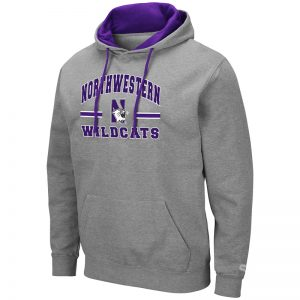 Northwestern University Wildcats Colosseum Men's Heather Grey Hooded Sweatshirt With Appliqué Embroidered Northwestern Over N-Cat Bar Design