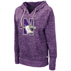 Northwestern University Wildcats Colosseum Ladies Bradshaw Pullover Hooded Sweatshirt with N-Cat Design