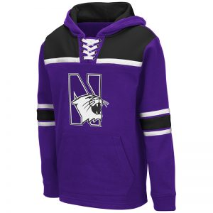 Northwestern University Wildcats Colosseum Youth Billie Hockey Pullover Hoodie With N-Cat Appliqué Embroidered Design