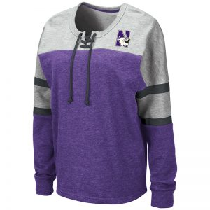 Northwestern University Wildcats Colosseum Ladies Manolo Lace Up Pullover Sweatshirt with N-Cat Design