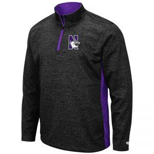 Northwestern University Wildcats Colosseum Men's Black Heather Sanjay L/S 1/4 Zip with N-Cat Design