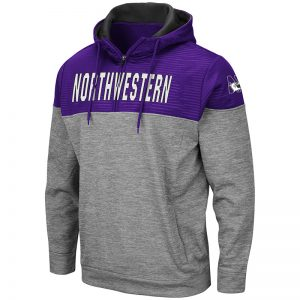 Northwestern University Wildcats Colosseum Men's Bart Pullover 1/4 Zip with N-Cat Design